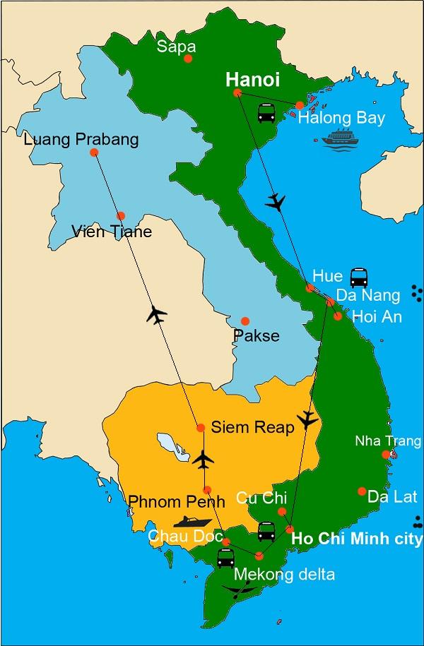 cambodia laos vietnam map Treasures Of Vienam Cambodia Laos cambodia laos vietnam map